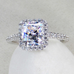 3.5 cttw 3ct Center Princess Radiant Cut NSCD Simulated Diamond Engagement Wedding Ring Sizes 4.5-10