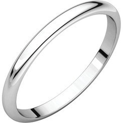 14K White Gold 2mm Plain Polished Half Round Wedding Band