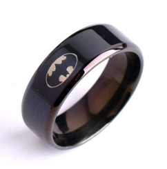 "Black PVD Stainless Steel ""Batman"" Logo Band Style Ring 8mm"