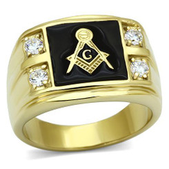 Mens Masonic 18K Gold Plated Stainless Steel Ring with CZ Side Stones and Black Enamel Square & Compass