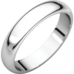 14K White Gold 4mm Plain Polished Half Round Wedding Band