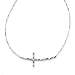 "Sterling Silver .925 Sideways Cross CZ Necklace 18"" WOW"