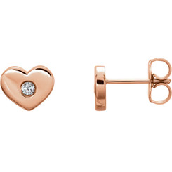 14kt Rose .06 CTW Diamond Heart Earrings