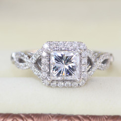New Forever One 1 Carat DEF VVS2 Square Princess Cut Moissanite Wedding Engagement Ring Real Diamond Accents Solid 14K White Gold