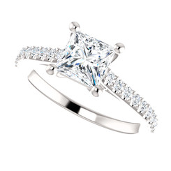 INFINTY - 14K White Gold 1CT Center Princess Cut NSCD Simulated Diamond & Genuine Diamond Side Wedding Solitaire Engagement Ring - MADE TO ORDER