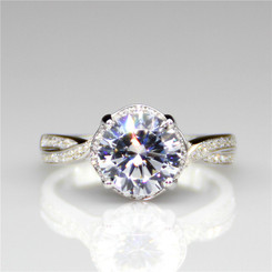 2.65CTW 2CT Center Round Cut NSCD Simulated Diamond Wedding Halo Crossover Engagement Ring
