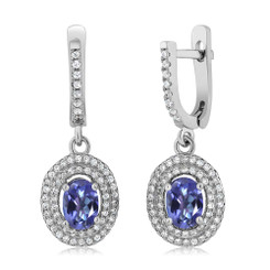 925 Sterling Silver Jewelry 2.72 Ct Oval Genuine Tanzanite Blue Mystic Topaz Earrings