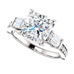 2.40CT Cushion Cut Eternal Moissanite & Diamond Wedding Engagement Ring