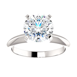 2CT = 8.0mm Forever One Moissanite Round Brilliant Cut Solitaire 14K White Gold