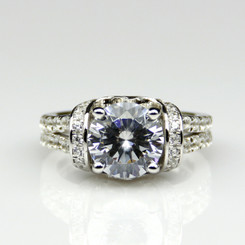 1.85CTTW 1CT Center NSCD Simulated Diamond Round Brilliant Cut Engagement Ring