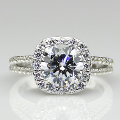 2.75CTTW 2CT Center NSCD Simulated Diamond Round Brilliant Cut Halo Engagement Ring