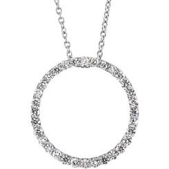Platinum 1/2CTTW Diamond Circle Pendant Necklace - BRILLIANT