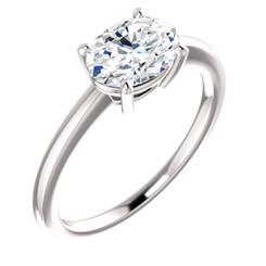 1.54CT = 8X6mm Forever One Moissanite Oval Cut East West Solitaire Engagement Ring