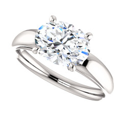 2.26CT = 9X7mm Forever One Moissanite Oval Cut East West Solitaire Engagement Ring - Band Included