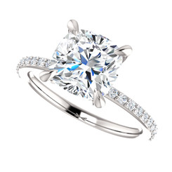 The Charlene NEO Moissanite 2CT Cushion Cut & Diamond Solitaire Engagement Ring