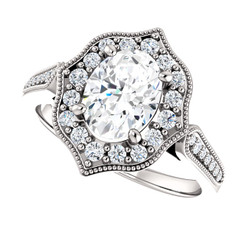 The Ella Ring Series - 1.50CT = 8X6mm Forever One Moissanite Oval Cut Halo Engagement Ring