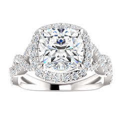 The Scarlett 2.40CT Forever One Moissanite Cushion Cut & Diamond Accent Solitaire Engagement Ring