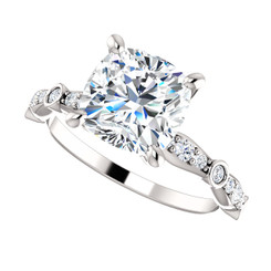 The Kelsey Ring Series - 2.40CT NEO Moissanite Cushion Cut & Diamond Solitaire Engagement Ring