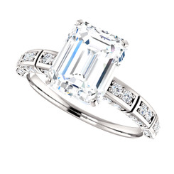 The Hannah 1.75CT NEO Moissanite Emerlad Cut & Diamond Solitaire Engagement Ring