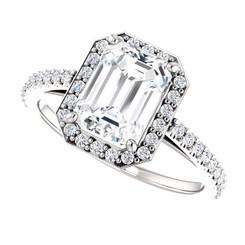 The Ella Ring Series -  1.75CT NEO Moissanite Emerlad Cut & Diamond Halo Engagement Ring