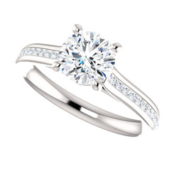 The Bliss Ring Series -  6.5mm = 1CT NEO Moissanite Round Cut & Diamond Engagement Ring