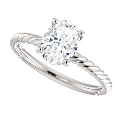 The Darla 8mm X 6mm = 1.50 NEO Moissanite Oval Shaped Cabled Solitaire Engagement Ring
