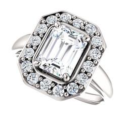 The Caroline 1.75CT NEO Moissanite Emerald Cut & Diamond Halo Engagement Ring
