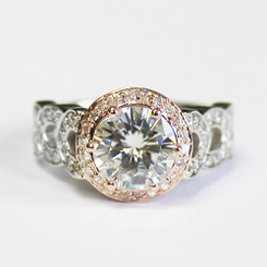 The Bailey 2.00CT = 8mm Forever One Round Cut Moissanite & Rose Gold Halo