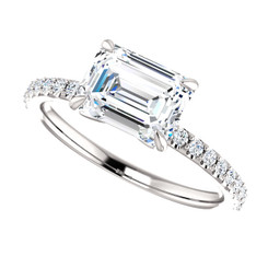 The Annabelle Ring Series - NEO Moissanite 1.75CT Emerald Cut East West Engagement Ring w/ Diamond Accents