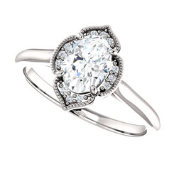 The Peneolpe  - NEO Moissanite .90CT Oval Cut Vintage Designed Halo Petite Engagement Ring w/ Diamond Accents