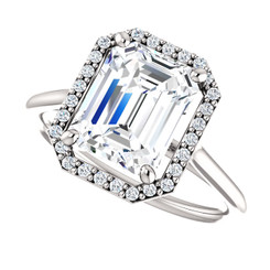 The Lopez Ring Series - NEO Moissanite Emerald Cut 2.45CT & Diamond Halo Engagement Ring