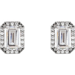 1.20CTW = 6mm X 4mm Stud Earring NEO Moissanite Emerald Cut & Diamond Halo