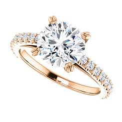 The Grace Ring - 2.00CT NEO Moissanite Round Cut & Diamond Engagement Cathedral Style Ring