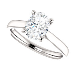 Cathedral Forever One Moissanite 1.50CT Oval Cut Solitaire Engagement Ring