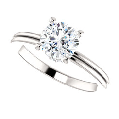 "The Lilly 1CT NEO Moissanite Round ""DIAMOND CUT"" Cut & Diamond Collar Grooved Shank Engagement Ring"