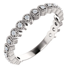 14K Diamond Wedding Anniversary Beaded Style Band - Stackable