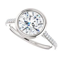 The Addison Ring Series - Bezel Set NEO Moissanite 1.90CT Center Round Brilliant Cut with Diamond Accents - SEE VIDEO BELOW