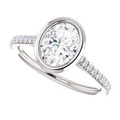 The Addison Ring Series - Forever One Moissanite 1.52CT Oval Cut Bezel Set Engagement Ring With Diamond Accents
