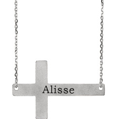 Sterling Silver .925 Engraved Sideways Cross Necklace