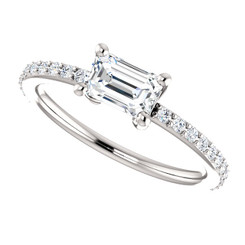 The Charlotte Ring NEO Moissanite .58CT Center Emerald Cut Engagement Wedding Ring with Diamond Accents