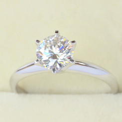 Eternal® Moissanite 1CT Round Brilliant Cut Solitaire 6 Prong Engagement Ring - Sterling Silver