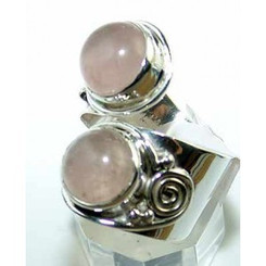 .925 Sterling Silver Double Rose Quartz Ring