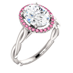 The Ivey Ring Series - Eternal® Moissanite 2.10CT Oval Cut Center & Pink Sapphire Halo Crossover Engagement Ring
