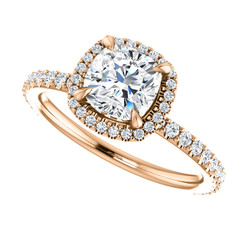 The Eloise Series - NEO Moissanite 1.10CT Cushion Cut & Diamond Halo Engagement Ring