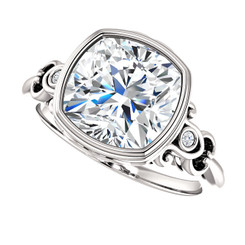 The Loretta Ring Series - Forever One Moissanite Cushion Cut 3.30CT Bezel Set Engagement Ring