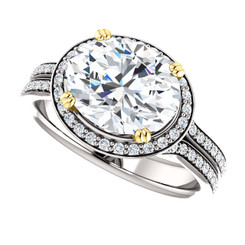 The Peyton Ring Series - Eternal  Moissanite 3CT Center Oval Cut EF Color East West Set with Diamond Halo