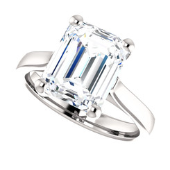 The Julia Ring Series - Eternal Moissanite 3.45CT Emerald Cut Engagement Cathedral Style Solitaire Ring - VIDEO BELOW