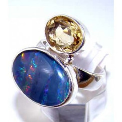 .925 Sterling Silver Fire Opal and Citrine Ring