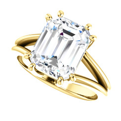 The Carla Ring Series - Eternal Moissanite  3.45CT Emerald Cut Center Split Shank & Double Prongs Engagement Ring - VIDEO BELOW
