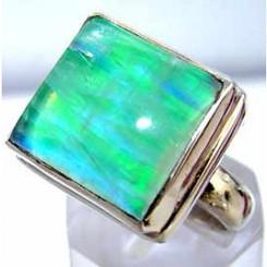 .925 Sterling Silver Green Moonstone Ring